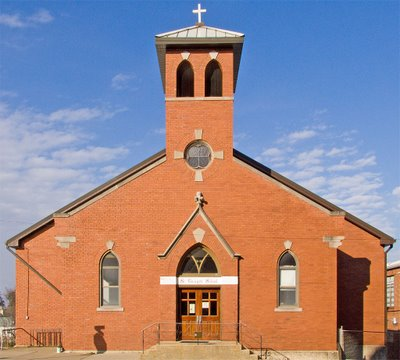Saint George Catholic Church, in Hermann, Missouri - school dating from 1870