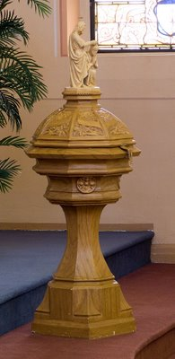 Saint George Catholic Church, in Hermann, Missouri - baptismal font