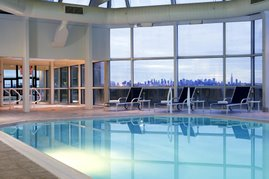 Indoor swimming pool with magnificent view of NYC