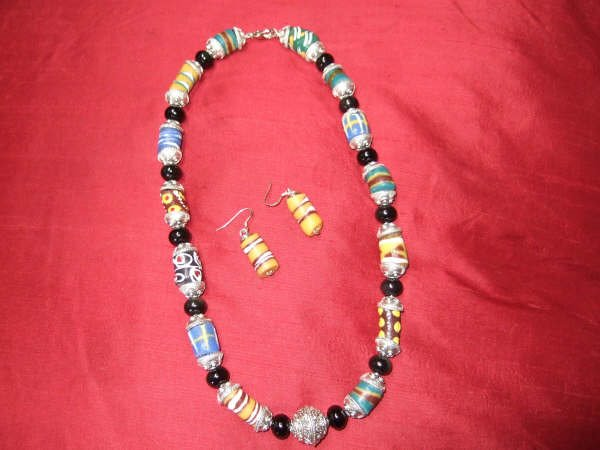 High Desert Rainbow..... (rare sand pit beads with obsidian)