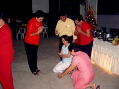 Administrators in action during Christmas Fellowship, December 8, 2006