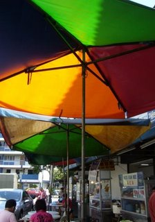 Beautiful hawker umbrellas, Penang