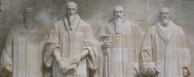 Reformadores da esquerda para direita: Farel, Calvino, Beza e Knox.