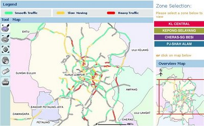 Map showing roads traffic condition of Petaling Jaya and Kuala Lumpur
