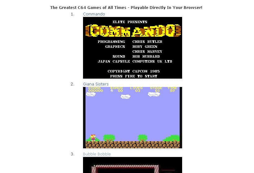 Classic Commodore 64 games online | Rednax\'s Internet Things
