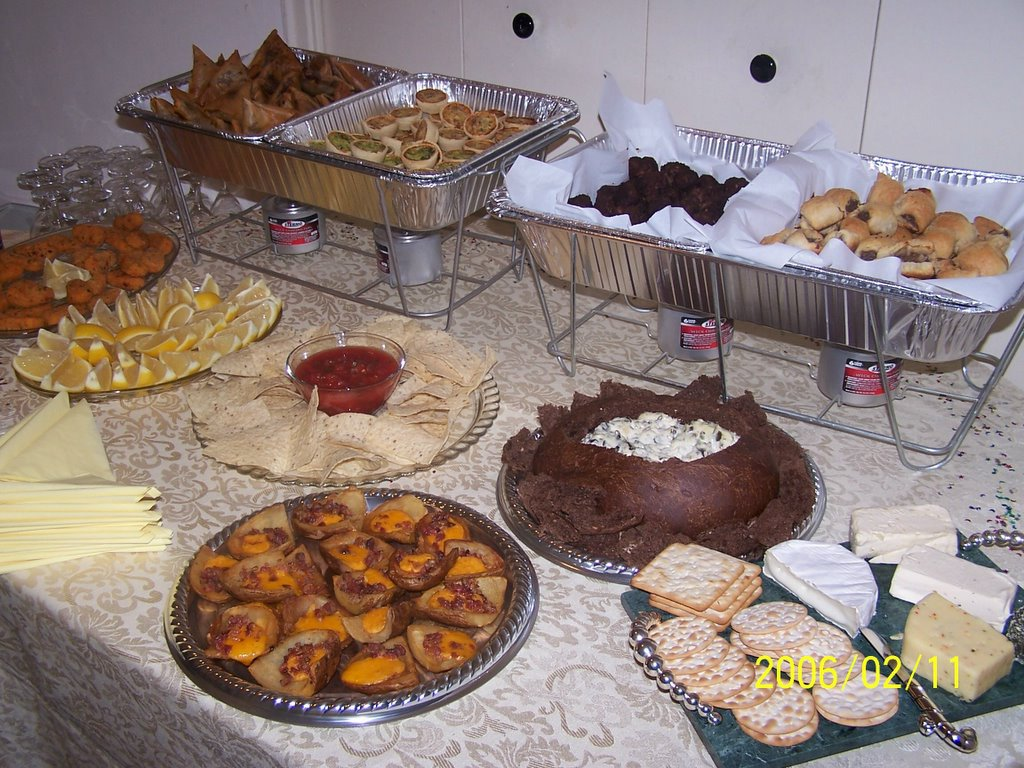 begginer catering ideas, table settings: 50th birthday party appertizers