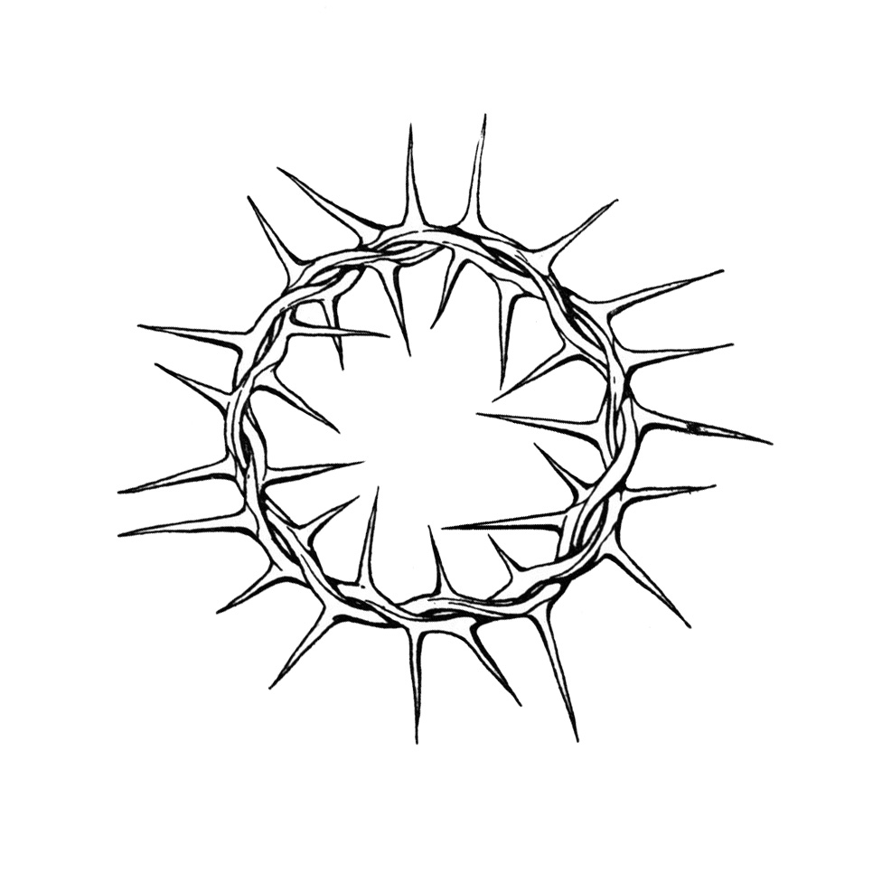 crown of thorns coloring page - crown of thorns line drawing the image
