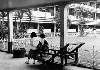 Emphasis by converging lines; Rizal High School Amang Hall 1992; photo by Atty. Galacio