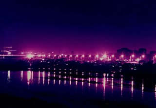 Shooting at night; B-setting; At nighttime, focus your camera using points of light like street lamps; Legaspi bridge, floodway in Pasig City, 1997 or 1998; photo by Atty. Galacio