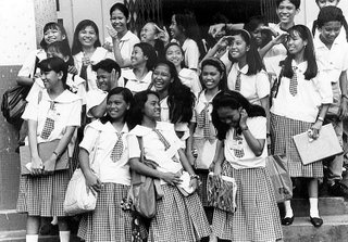 Shooting informal groups: choose high POV, establish rapport with your subjects, and shoot several frames; 1996; photo by Atty. Galacio