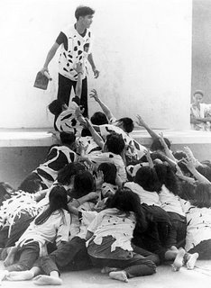 Decisive moment; vertical format; Rizal High School 1995; photo by Atty. Galacio