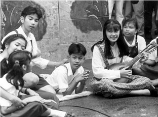 Rizal High School Musical Theater 1993; imaginary lines of direction; photo by Atty. Galacio