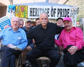Frank Kameny, Jack Nichols and George Weinberg riding on Heritage of Pride float
