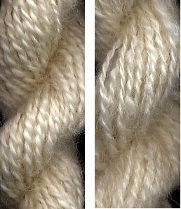 Worsted Leicester Longwool yarn on the left, woolen spun on the right.