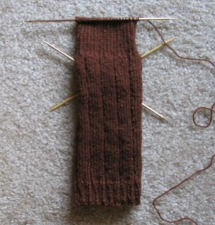 Progress on the 2nd sock, heel flap about half done.