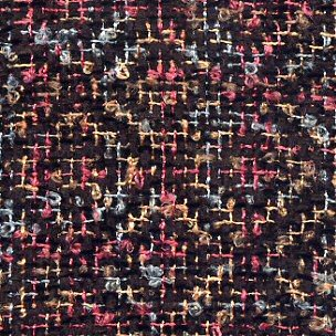 Shadow weave in loopy rainbow variegated rayon & black acrylic chenille.