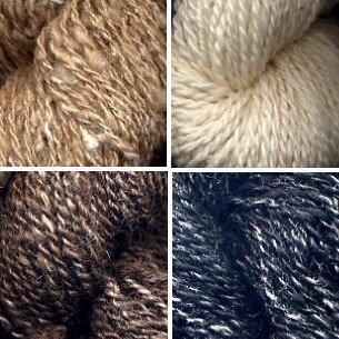 Leigh's 4 silk blend handspun yarns.
