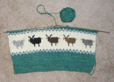 1st sheep row of Leigh's Rare Breed Sweater, back