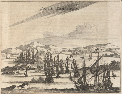 engraving of ships in a bay 1600s Ponta Tamandere