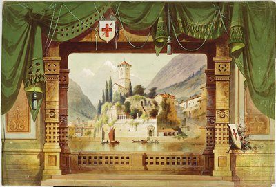 Drop curtain. Swagged draperies with central landscape. Titled, 'Belagona Castle, Switzerland'