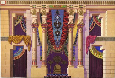 Egyptian backdrop with hanging tapestries and a central throne.