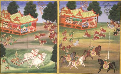 Burmese Parabeik illustrating royal pastimes