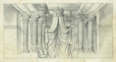 Pencil sketch of King Solomon's council chamber