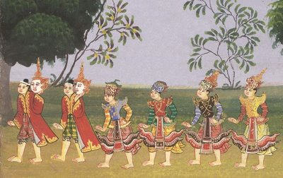 procession dancers detail