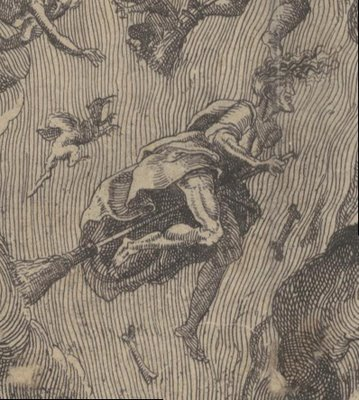 detail of witch on broomstick