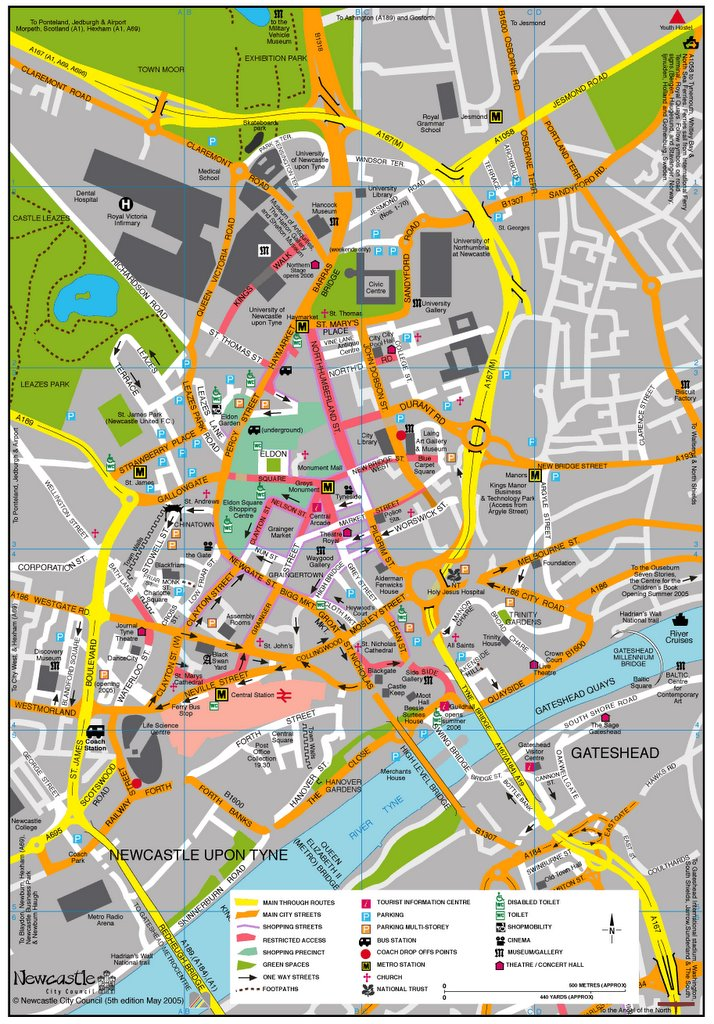 Newcastle Upon Tyne Map City Centre Photographs Of Newcastle: Links
