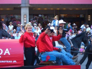 Dewey's Dad Driving the Chuckwagon in the Parade