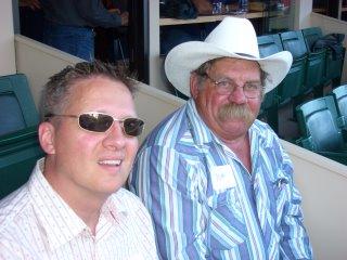 Dewey & His Dad at the Chuckwagon Races