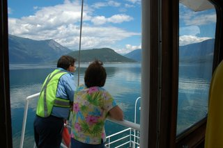 Mom talking with one of the ferry workers