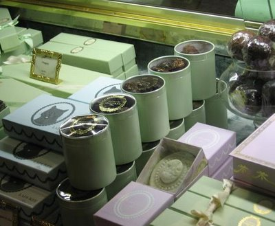 Ladurée's window of candy boxes