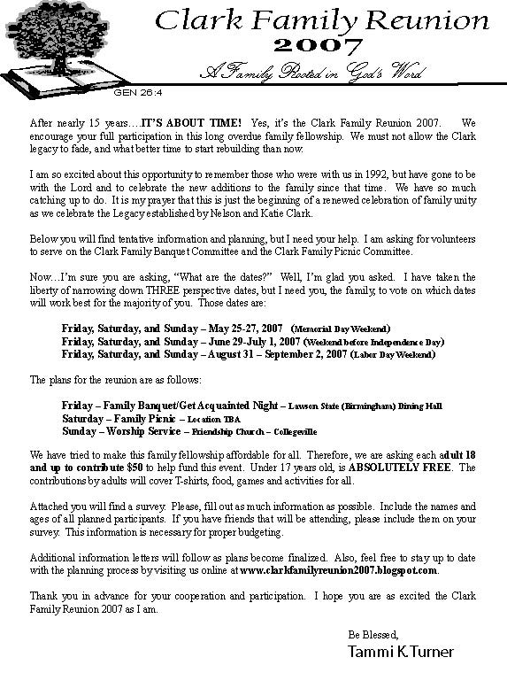 family reunion welcome letter clark family reunion 2007 opening letter 21656 | letter%20for%20web.1