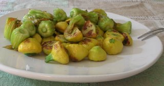 Simple Baby Pattypan Squash with Squash Blossoms