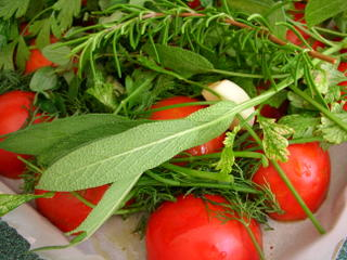 Gathering ingredients for slow-roasted tomatoes
