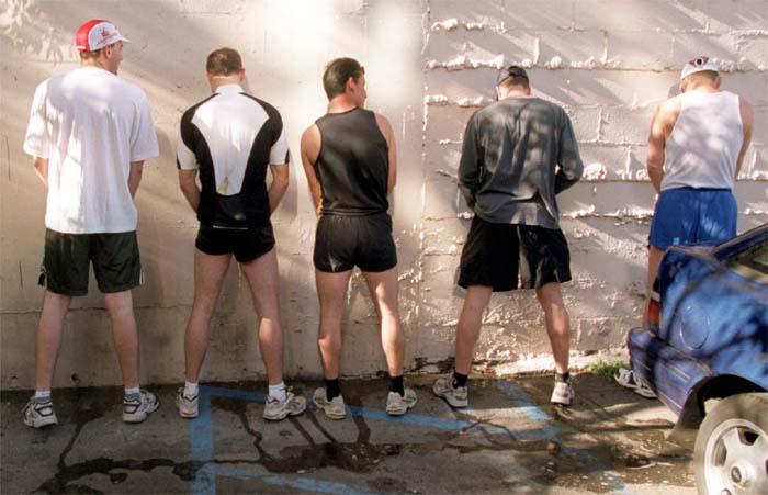 Men peeing picture