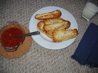 mozzarella cheese hot dog buns with tomato basil sauce (extra garlic) and milk--for strong bones & teeth. Rarrr.