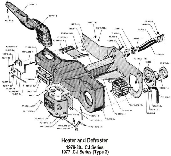 jeep cj7 heater hose diagram