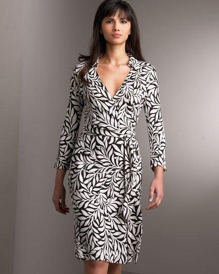 Diane Von Furstenberg Laurel Leaf Black Jude Wrap Dress