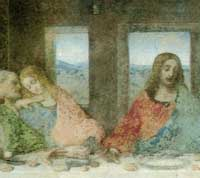 Last Supper Detail shows Jesus and Beloved Disciple