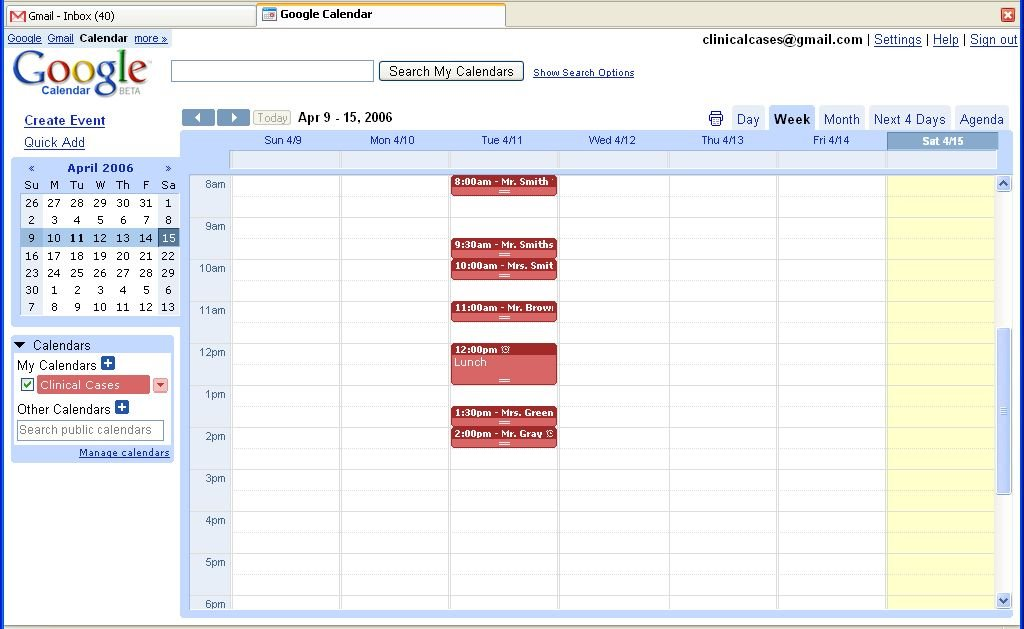 Free calendar with appointment slots