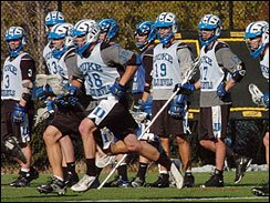 Duke lacrosse players practice Monday, March 27, 2006, on the campus in Durham, N.C