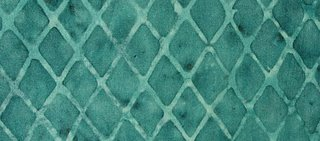 Blue-green Lattice Batik, Boston commons quilt, fabric selection, photo by Robin Atkins, bead artist