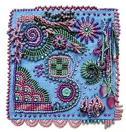 bead embroidery sampler by Robin Atkins, bead artist