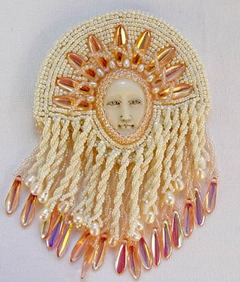 beaded fringe, detail of cabochon pin by Tressie Hughes