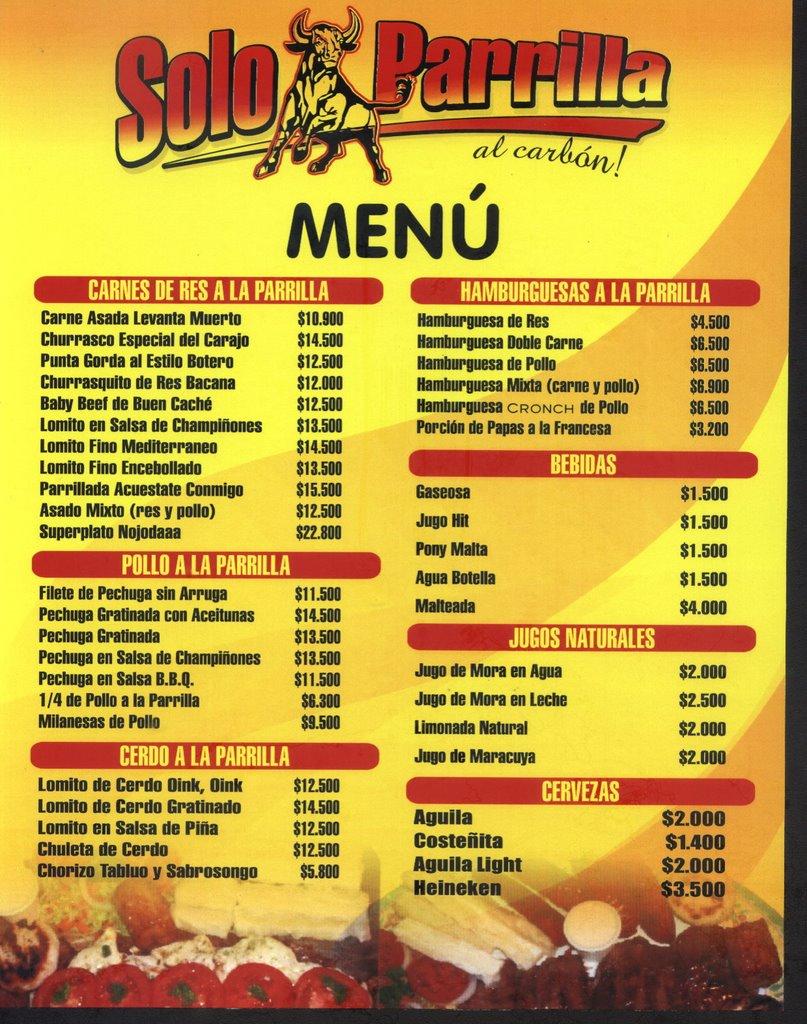 Aqui Mexican Restaurant Menu