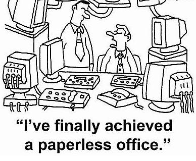 less paper office