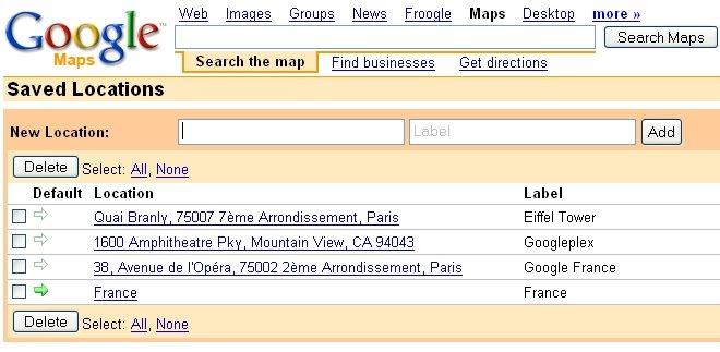 Google Maps : Saved Locations
